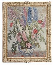 § ADAM BRUCE THOMSON O.B.E., R.S.A., P.R.S.W., H.R.S.W. (SCOTTISH 1885-1976) FLOWERS IN A CHINESE BOWL 91cm x 71cm (36in x 28in)