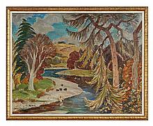 § ADAM BRUCE THOMSON O.B.E., R.S.A., P.R.S.W., H.R.S.W. (SCOTTISH 1885-1976) THE TWEED AT LOWOOD 71cm x 91cm (28in x 36in)