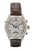 LONGINES - A gentleman's stainless steel cased chronograph wrist watch Case diameter: 41mm
