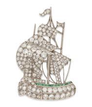 A 1920s diamond set ship brooch Length: 45mm