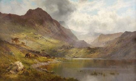 ALFRED DE BREANSKI SENIOR (1852-1928) A PERTHSHIRE VALLEY 75cm x 127cm (30in x 50in)