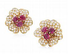 A pair of ruby and diamond set ear clips Diameter: 19mm