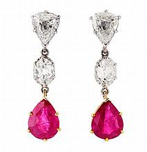 A pair of ruby and diamond ear pendants Length: 2.7cm
