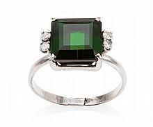 A tourmaline and diamond set ring Ring size: P