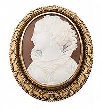 A 19th century cameo brooch 45mm x 55mm