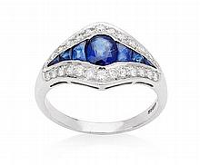An Art Deco style 18ct white gold mounted sapphire and diamond set ring Ring size: O/P