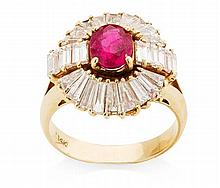 A diamond and ruby set cluster ring Ring size: L