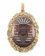 An Egyptianesque hardstone cameo pendant Length (including bale): 7.5cm