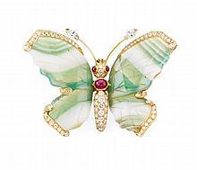 A multi-gem set butterfly pendant 55mm x 40mm