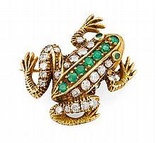 An antique multi-gem set novelty brooch Length: 30mm