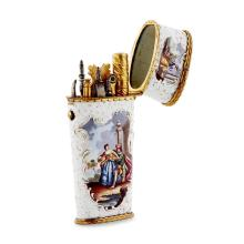 An English early 19th century enamel and gilt metal etui Height: 10cm