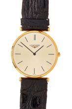 LONGINES - A gentleman's 18ct gold wrist watch Dial diameter: 30mm