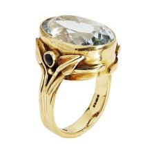 A contemporary 18ct gold aquamarine set cocktail ring Ring size: N, estimated aquamarine weight: 15.79cts