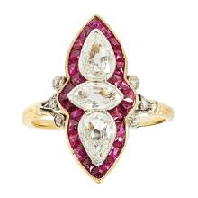 A ruby and diamond cluster ring Ring size: L