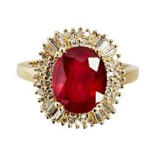 A ruby and diamond set cluster ring Ring size: M/N, estimated total gem weights: ruby 5.30cts, diamonds 1.10cts