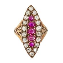 A diamond and ruby cluster ring Ring size: M/N