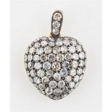 A diamond set heart pendant Length of pendant (including bale): 22mm