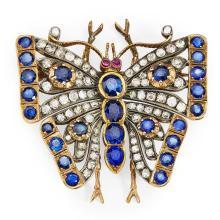 A sapphire and diamond set butterfly brooch Width: 45mm
