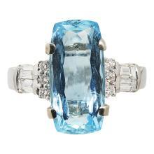 An aquamarine and diamond set cocktail ring Ring size: M, estimated aquamarine weight: 4.95cts
