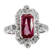 An Art Deco style ruby and diamond ring Ring size: N, estimated total gem weights: ruby 2.59cts, diamonds 0.54cts