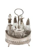 A late George III oval silver Warwick cruet Width: 18cm