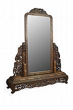 CHINESE CARVED HARDWOOD CHEVAL MIRROR QING DYNASTY, LATE 19TH CENTURY 163cm wide, 200cm high, 39cm deep