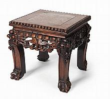 CHINESE HARDWOOD AND MARBLE TOP SMALL STOOL LATE QING DYNASTY 21cm wide, 21cm high, 21cm deep
