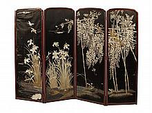 CHINESE SILK EMBROIDERED FOUR PANEL SCREEN 232cm wide, 170cm high