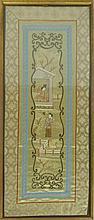 FOUR CHINESE FRAMED TEXTILE PANELS 19TH/ 20TH CENTURY
