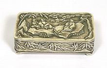 * CHINESE EXPORT SILVER BOX WANG HING, CANTON CIRCA 1900 8cm wide, 78.6g
