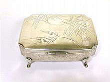 * CHINESE EXPORT SILVER JEWELLERY BOX CIRCA 1900 14cm wide