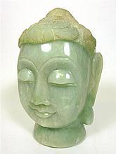 LARGE CHINESE GREEN QUARTZ HEAD OF BUDDHA 31cm high
