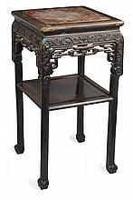 CHINESE CARVED HONGMU STAND QING DYNASTY 42cm wide, 81cm high