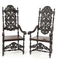 PAIR OF LARGE VICTORIAN STAINED OAK HALL ARMCHAIRS MID/LATE 19TH CENTURY