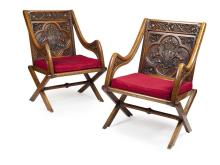 PAIR OF LARGE VICTORIAN OAK AND PAINTED GLASTONBURY CHAIRS MANNER OF A. W. N. PUGIN, MID 19TH CENTURY