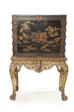 JAPANESE BLACK AND GILT LACQUER CABINET ON ENGLISH GILTWOOD STAND EARLY 18TH CENTURY
