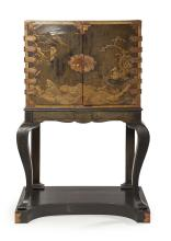 JAPANESE BLACK AND GILT LACQUER CABINET ON ENGLISH JAPANNED STAND LATE 17TH/EARLY 18TH CENTURY