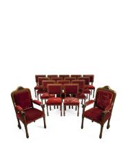 SET OF SIXTEEN VICTORIAN OAK FRAMED AND UPHOLSTERED DINING CHAIRS MANNER OF A. W. N. PUGIN, MID 19TH CENTURY