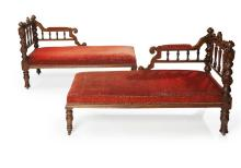 PAIR OF VICTORIAN OAK FRAMED UPHOLSTERED CHAISE LONGUES MID/LATE 19TH CENTURY