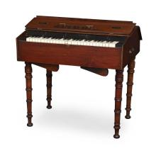 SMALL MAHOGANY CASED PORTABLE PIANO BY JAMES SEMPLE, GLASGOW, MID 19TH CENTURY