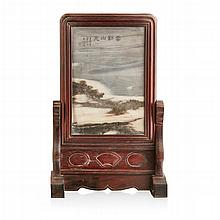 DREAMSTONE-INSET BLACKWOOD TABLE SCREEN SIGNED WU DACHENG (1835-1902), DATED 1892 39cm high overall