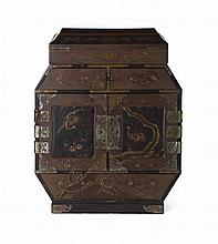 JAPANESE BLACK AND RED LACQUER SMALL CABINET, KODANSU MEIJI PERIOD 56cm high, 45cm wide