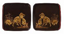 PAIR OF JAPANESE SQUARE BLACK LACQUER TRAYS LATE MEIJI PERIOD 24cm wide