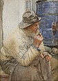 WALTER LANGLEY R.I (1852-1922) A QUIET SMOKE 35.5cm x 25.5cm (14in x 10in) and a companion, a pair 'The Last Chapter' (2)