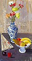 JOHN CUNNINGHAM R.G.I. (SCOTTISH 1926-1998) STILL LIFE WITH CHINESE VASE 76cm x 41cm (30in x 16cm)