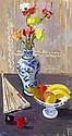 JOHN CUNNINGHAM R.G.I. (SCOTTISH 1926-1998) STILL LIFE WITH CHINESE VASE 76cm x 41cm (30in x 16cm)