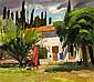 JOHN CUNNINGHAM R.G.I. (SCOTTISH 1926-1998) FRENCH GARDEN 50.5cm x 55.5cm (20in x 22in)