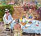 JOHN CUNNINGHAM R.G.I. (SCOTTISH 1926-1998) DINNER AL FRESCO 77cm x 86cm (30.25in x 34in)