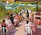 JOHN CUNNINGHAM R.G.I. (SCOTTISH 1926-1998) CAFE SCENE 66cm x 76cm (26in x 30in)