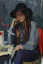 JOHN CUNNINGHAM R.G.I. (SCOTTISH 1926-1998) WOMAN IN A BLACK HAT 43cm x 30cm (17in x 11.75in)